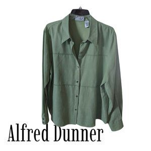 Alfred Dunner Green Suede-like Button Front - 20